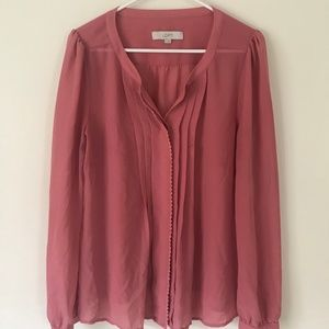 Medium Long Sleeve Ann Taylor Loft Pink Blouse